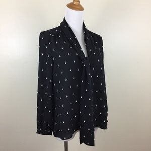 JUICY COUTURE Tie Collar Print Button Shirt Blouse